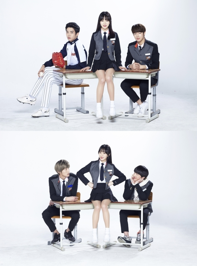 """Kwon Mina of AOA poses with actors in the promotional image for """"Click Your Heart."""" (FNC Entertainment)"""