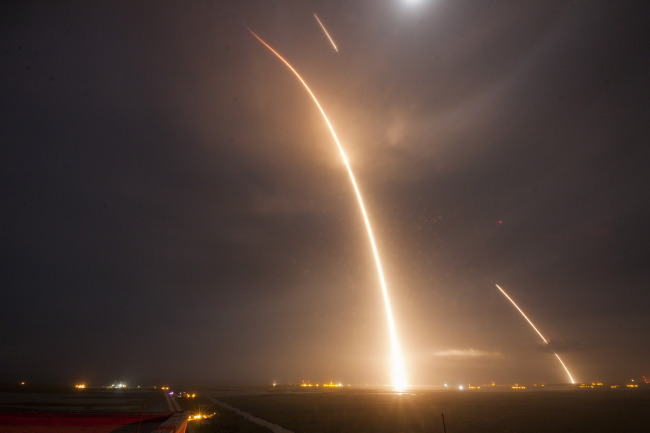 Long exposure of the launch, reentry and landing of U.S. space firm SpaceX's Falcon 9. (SpaceX)