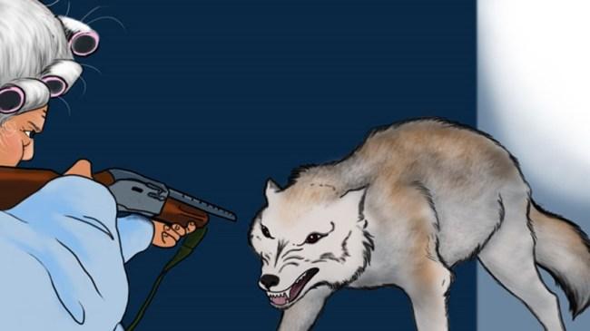 "An illustration from Amelia Hamilton's ""Little Red Riding Hood (Has a Gun)"" (NRA website-Amy Hulse, Studio Coronado)"