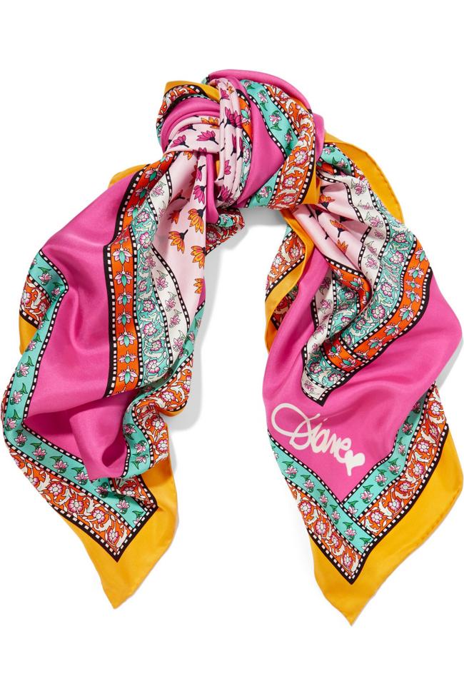 Diane von Furstenberg`s printed silk-twill scarf. $160 at Net-a-Porter.com. (Net-a-Porter/TNS)