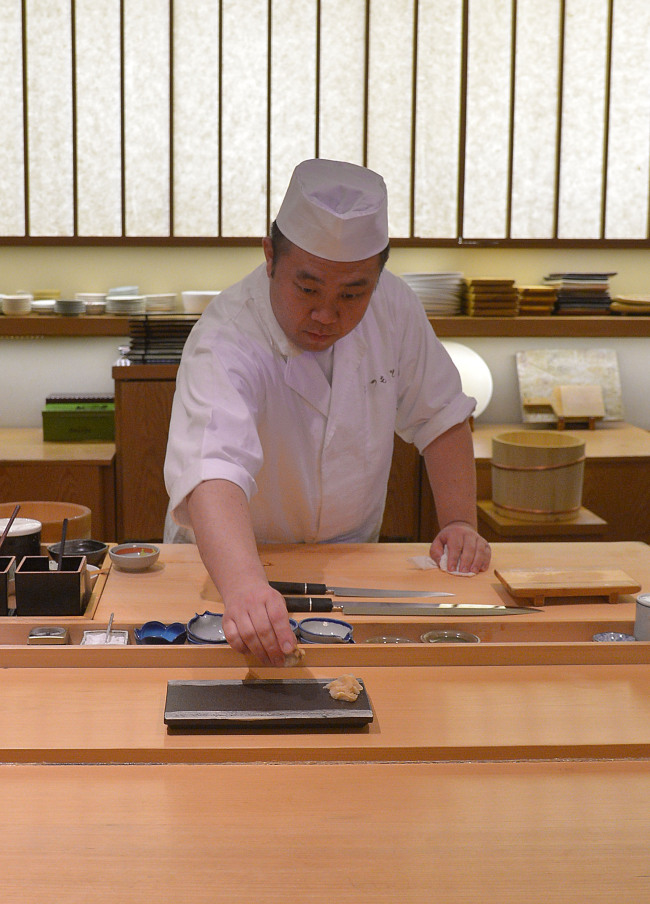 Head chef Matsumoto Mizuho focuses on serving classic nigiri and edomae sushi, one carefully crafted piece at a time. (Lee Sang-sub/The Korea Herald)