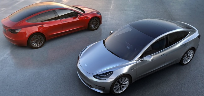 The image of Tesla's first mass-market model Model 3 Tesla Motors