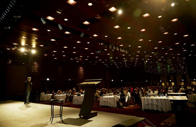 "Doctor, author and alternative medicine motivational speaker Deepak Chopra speaks at his ""Super Soul Relay"" lecture, held at the Sheraton Grande Walkerhill in Gwangjin-gu, Seoul, Wednesday. (Ritamville)"