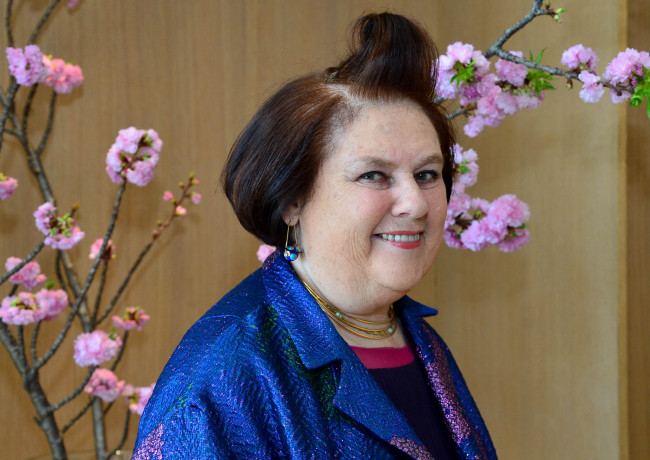 International Vogue Editor Suzy Menkes poses for a photograph at the Hotel Shilla in Seoul on Monday. (Yoon Byung-chan/The Korea Herald)
