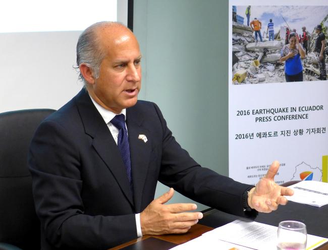 Ecuadorian Ambassador Oscar Herrera Gilbert (Joel Lee / The Korea Herald)