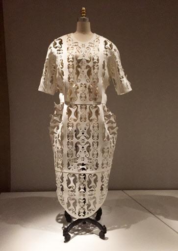 A machine-made dress by Thom Browne, made of EVA foam (AP-Yonhap)