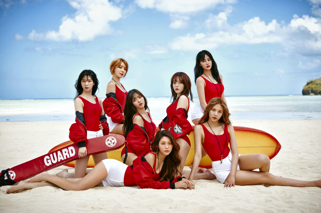 """Girl group AOA poses for a promotional cut for its new album """"Good Luck"""" released on Monday. (FNC Entertainment)"""