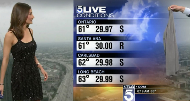 A screen capture of a KTLA-TV weather forecast where cohost Chris Burrous hands over a gray sweater from off camera to weather anchor Liberte Chan. (KTLA)