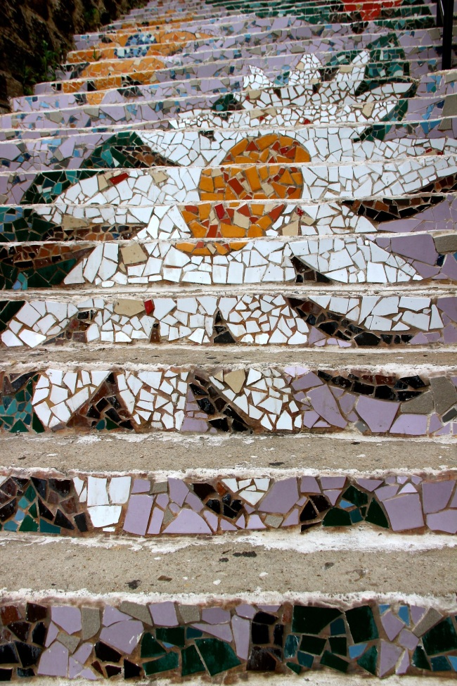 A view of the mosaic flowers outdoor stairwell in its original state at the Ihwa Mural Village in Seoul. (Julie Jackson/The Korea Herald)