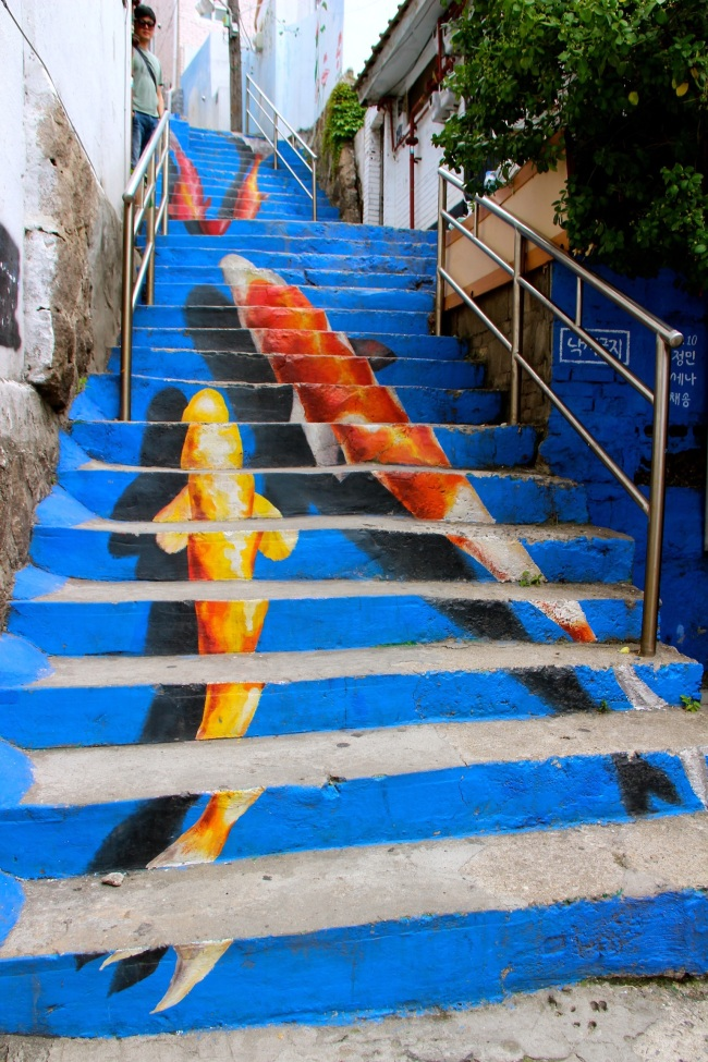 A view of the koi fish-painted stairwell prior to being painted over. (Julie Jackson/The Korea Herald)