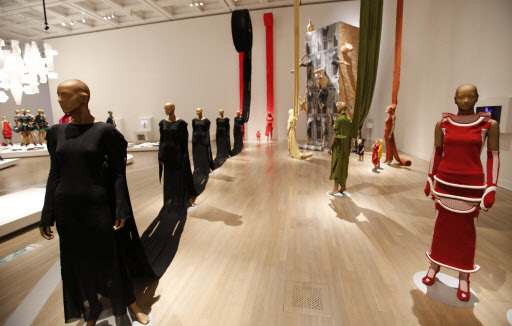 Designer Issey Miyake's collection is displayed at the National Art Center in Tokyo, Japan, on Tuesday. (AP-Yonhap)