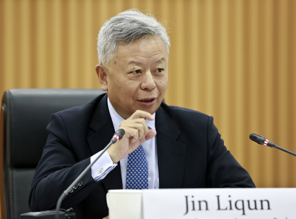 Jin Liqun, president of the Asian Infrastructure Investment Bank, speaks at the annual board meeting of the Asia News Network held at China Daily in Beijing on Tuesday. Asia News Network