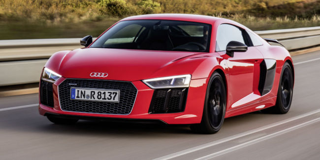 A driving shot of the new Audi R8 V10 plus