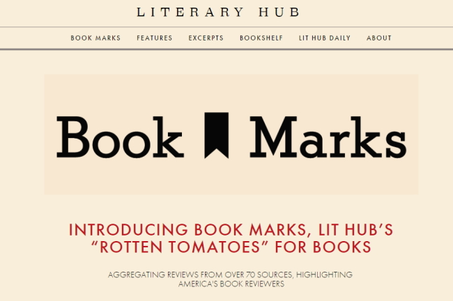 Screenshot of Literary Hub's website, which offers visitors a compilation of critics' book reviews (Literary Hub website)