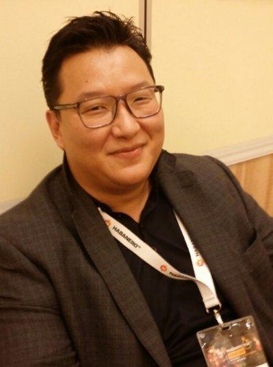 Dot founder and David Jung, CEO of Hero Poker (Cho Chung-un/The Korea Herald)