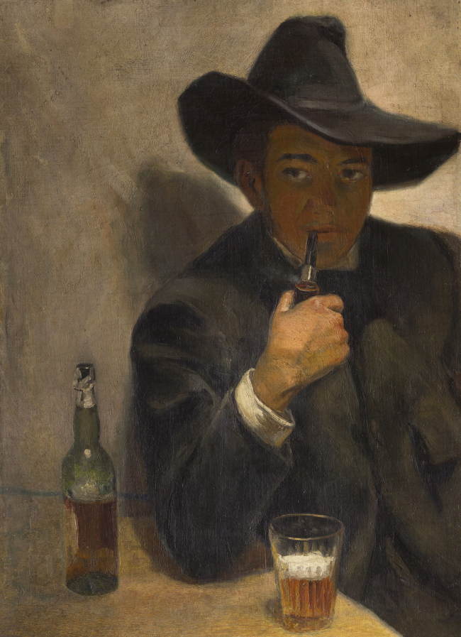"""""""Self-Portrait with Broad-Brimmed Hat"""" by Diego Rivera (ⓒ2016 Banco de Mexico, Frida Kahlo & Diego Rivera Museums Trust)"""