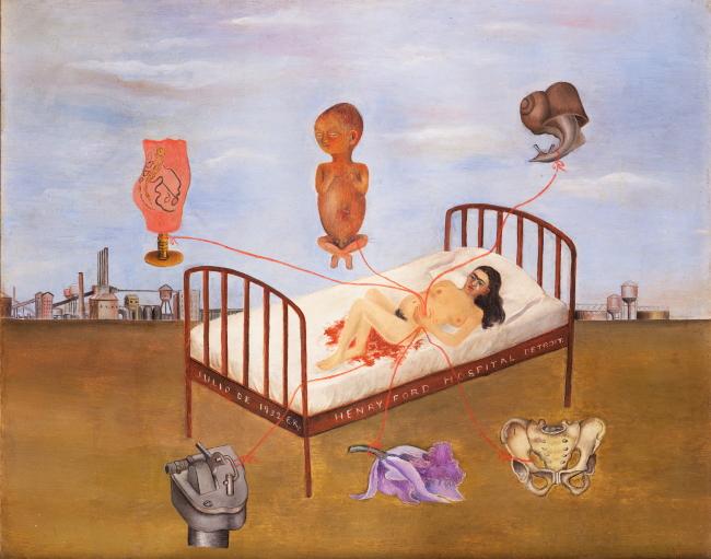 """Henry Ford Hospital"" by Frida Kahlo (ⓒ2016 Banco de Mexico, Frida Kahlo & Diego Rivera Museums Trust)"