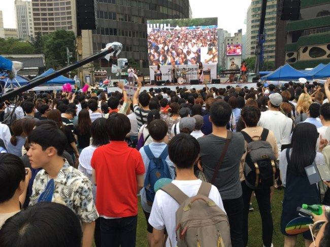 An opening ceremony for this year's Queer Cultural Festival is held at Seoul Plaza in central Seoul, Saturday. (Ock Hyun-ju/The Korea Herald)
