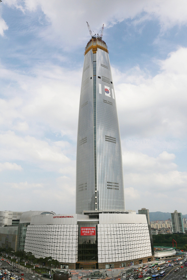 Lotte World Tower in Jamsil, southeastern Seoul. The Investor