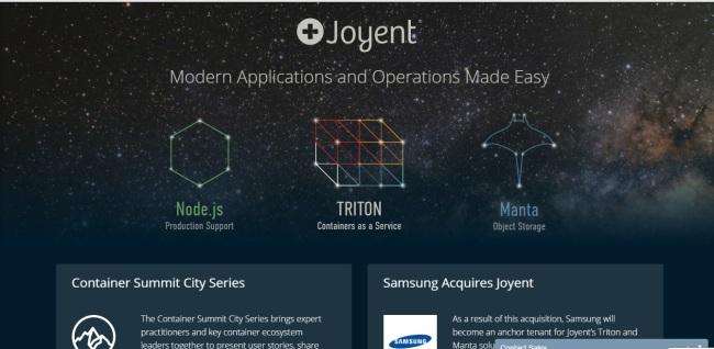 Screen capture of Joyent`s homepage