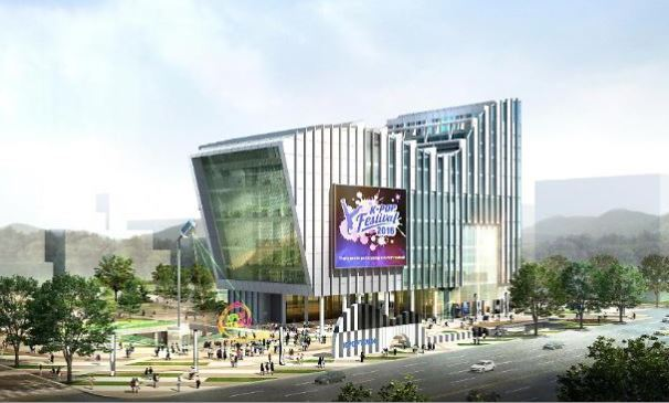 Aerial view of SM Entertainment's culture center in Changwon