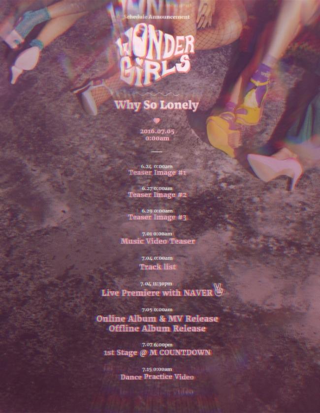Wonder Girls' release plan for their upcoming album (JYP Entertainment)
