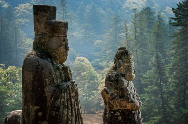 Stone sculptures stand guard at Gwangneung, the tomb for 7th King Saejo and his wife Queen Jeonghee, in Namgyangju, Gyeonggi Province. (The National Palace Museum of Korea)