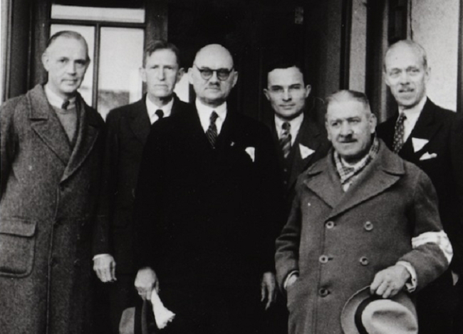 The Nanjing Safety Zone International Committee members at the time of the Nanjing Massacre are shown. George A. Fitch is at the far right. (The Independence Hall of Korea)