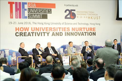 Photo provided by the University of Ulsan on June 27, 2016, shows leaders of Asian universities taking part in the 2016 THE Asia Universities Summit, organized by Times Higher Education, in Hong Kong. (Yonhap)
