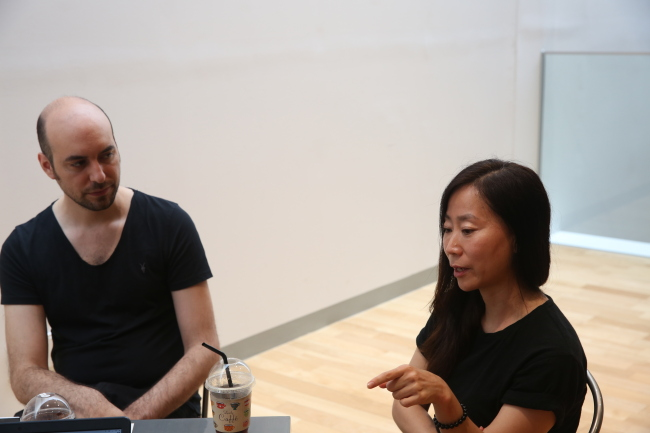Artist duo Elliot Woods (left) and Mimi Son (ACC)