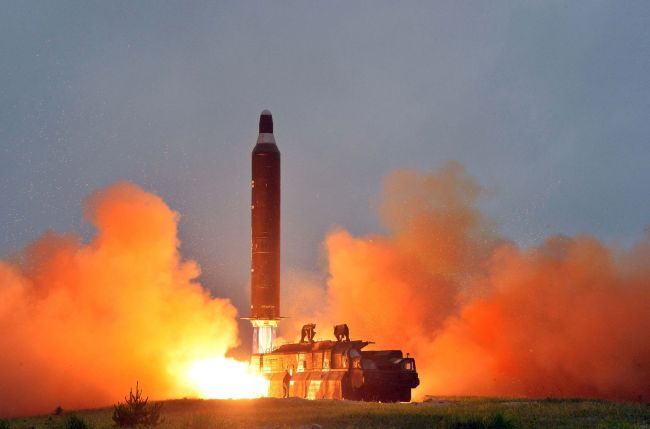 Photo shows a test launch of the surface-to-surface medium long-range strategic ballistic missile Hwasong-10. (Yonhap)