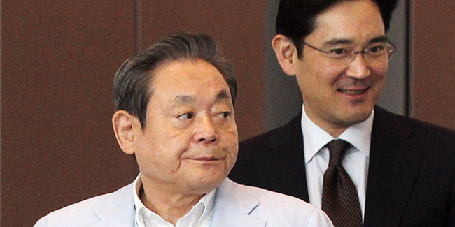 Samsung Electronics' Chairman Lee Kun-hee(left) and his the only son Jae-yong