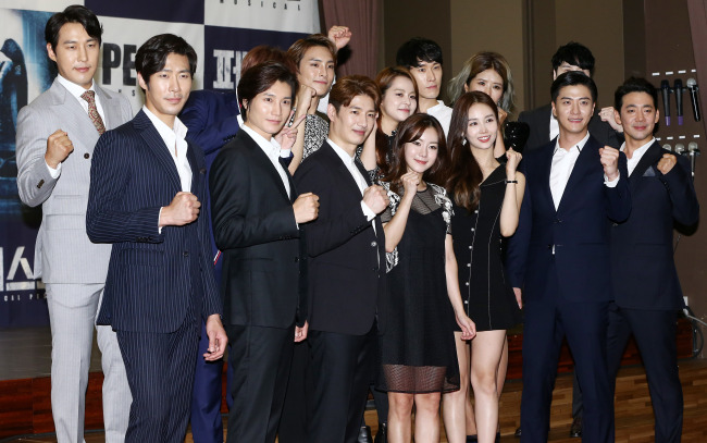 """The cast of the upcoming musical """"Peste"""" pose at a press conference held at the Di Nozze Convention center in Seoul on Thursday. (Yonhap)"""