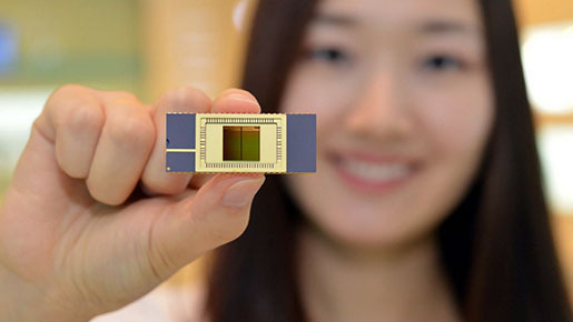 Samsung Electronics' 3-D NAND flash memory chip.  Samsung Electronics