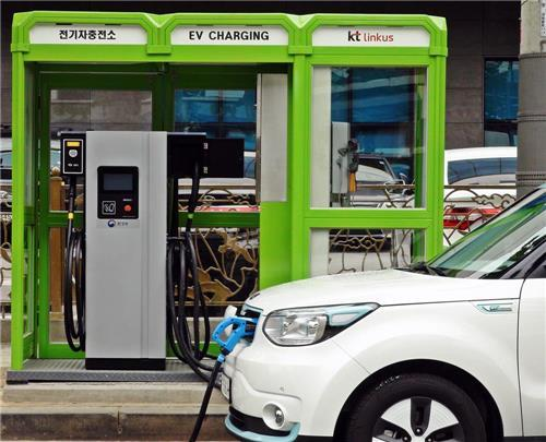 Rapid charging station in Seoul. KT