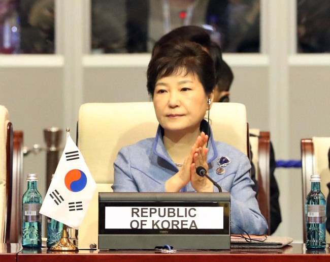 President Park Geun-hye at the ASEM opening ceremony on Friday. (Yonhap)