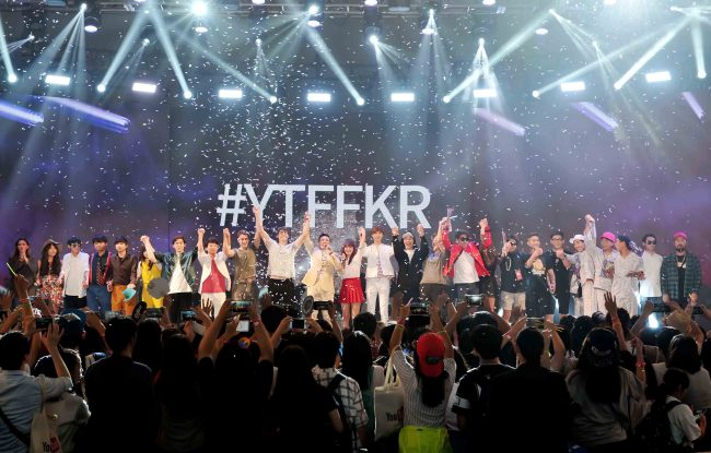 YouTube stars bid farewell during a curtain call at the YouTube FanFest Korea on Aug. 28, 2015 in Seoul. (YouTube)