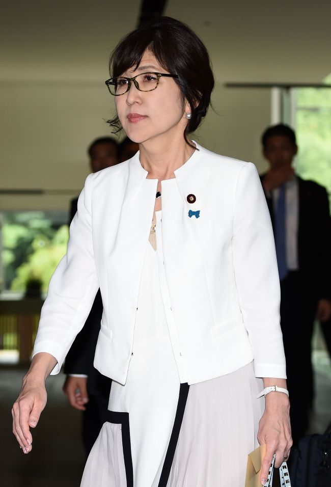 New Defence Minister Tomomi Inada walks out after meeting with Prime Minister Shinzo Abe at his official residence in Tokyo on Wednesday. (AFP-Yonhap)