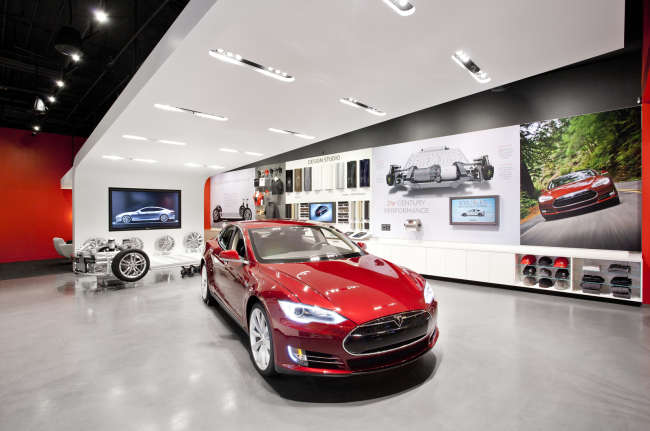 A Tesla retail store in Houston, the US.