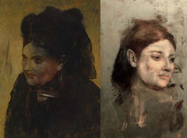 """Photos provided by Australian Synchrotron and the National Gallery of Victoria shows Edgar Degas' """"Portrait of a Woman"""" (left) and an image which appears, with X-ray fluorescence microscopy, beneath the painting. (AP-Yonhap)"""