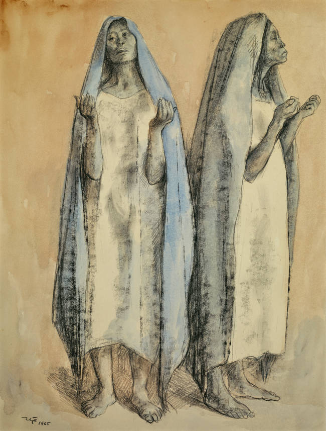 """Two Woman"" by Francisco Zuniga from the Garry Shandling collection that will be on offer at the Objects of Art Santa Fe Show for $15,000. (AP-Yonhap)"