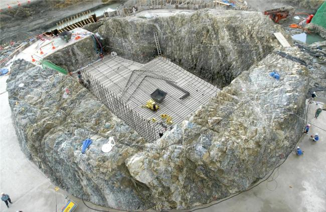 Construction is underway on the foundation rock where the nuclear reactor of the nuclear power plant will be installed. (KHNP)