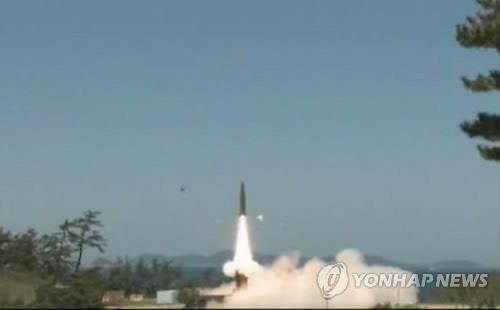 This video capture shows the Hyunmoo 2 ballistic missile being test-fired in South Korea. (Yonhap)