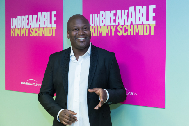"Tituss Burgess arrives at the ""Unbreakable Kimmy Schmidt"" in Los Angeles. Burgess will participate in the second annual Elsie Fest, a one-day outdoor music festival celebrating theater stars, set for Sept. 5. (AP-Yonhap)"