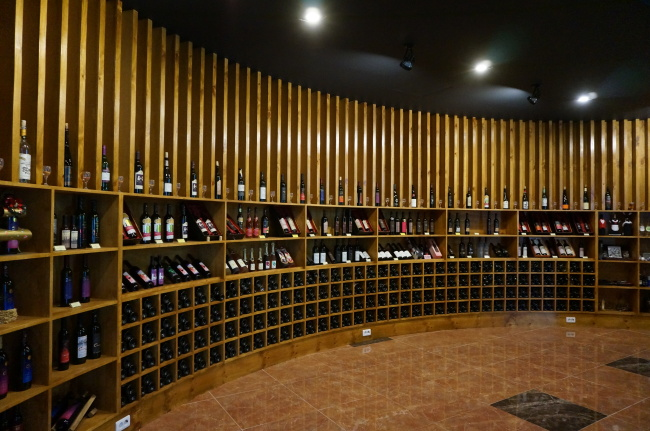 Bottles of wine produced in Yeongcheon, North Gyeongsang Province, are on display at the Yeongcheon Wine Business Center. (Lee Woo-young/The Korea Herald)