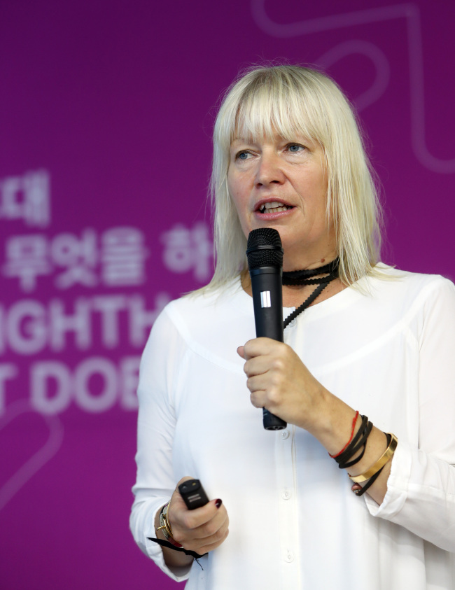 Maria Lind, the artistic director of the 11th Gwangju Biennale (Yonhap)