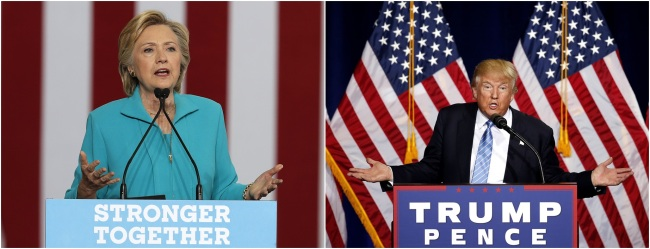 Hilary Clinton (left) and Donald Trump (right). Yonhap