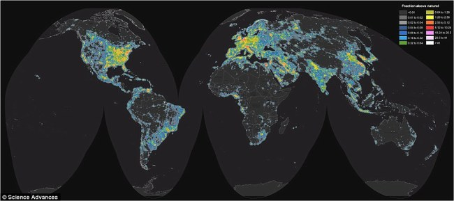 An interactive map from the Italian Light Pollution Science and Technology Institute reveals the full extent of light pollution around the globe. (Daily Mail)