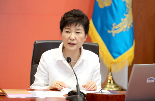 President Park Geun-hye speaks at a Cabinet meeting Tuesday, calling for stronger sanctions against North Korea's nuclear provocations and advocating the Terminal High Altitude Area Defense system. Yonhap