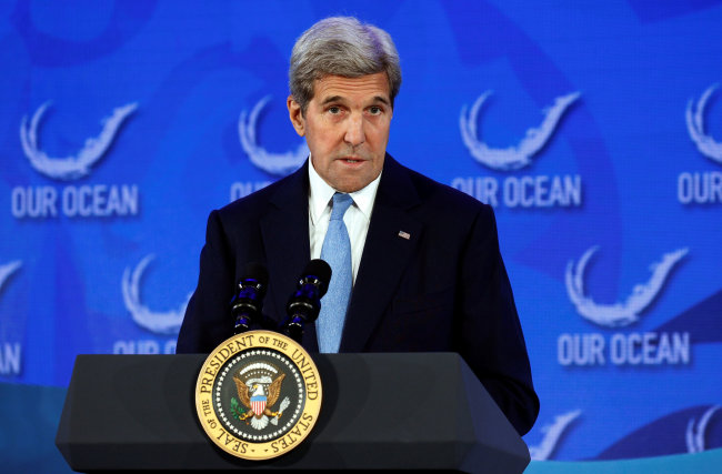 US Secretary of State John Kerry introduces US President Barack Obama to speak at the Our Ocean Conference at the State Department in Washington, D.C., Sept. 15, 2016. (Reuters-Yonhap)